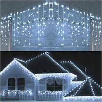 Новогодняя гирлянда бахрома 5,5 м 100 LED (Холодный белый с холодной белой вспышкой), фото 2