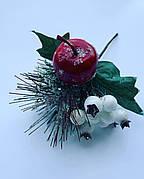 Новогоднее украшение.Бутоньерка новогодняя(14 см)