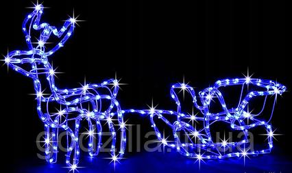 """Новогодняя гирлянда """"Олень"""" 123 см (Голубой + флеш)"""