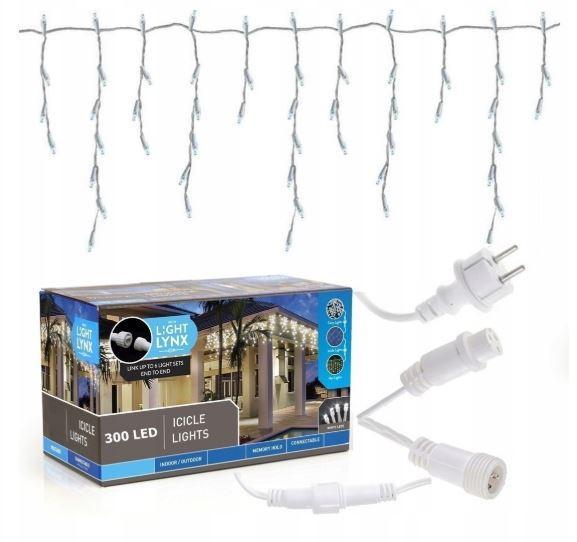 Новогодняя гирлянда бахрома 14 м 300 LED (Теплый белый с холодной белой вспышкой)