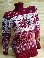 Теплый свитер-туника с оленями женская в интернет -магазине Красный