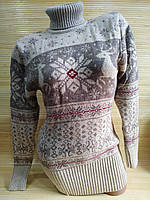Теплий светр-туніка з оленями жіноча в інтернет -магазині Беживый
