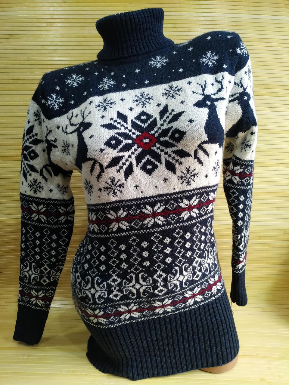 Теплий светр-туніка з оленями жіноча в інтернет -магазині Синій