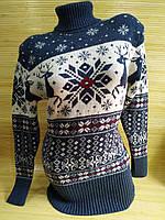 Теплий светр-туніка з оленями жіноча в інтернет -магазині Джинсовий синій