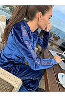 Велюровый спортивный костюм женский FREEVER 18196 синий