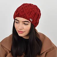 Женская шапка veilo на флисе 3332 бордо