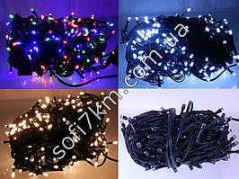 Гирлянда новогодняя на 200 лампочек светодиодная, черный провод, длина 12 м
