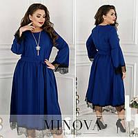 Сукня жіноча з кружевом ОМ/-746 - Електрик, фото 1