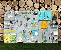 "Busyboard ""Гигант"" 60х100 см бізіборд бизиборд развивающая доска монтессори бирюза,желтый бизиборды"
