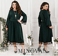 Сукня жіноча з кружевом ОМ/-746 - Зелений, фото 1