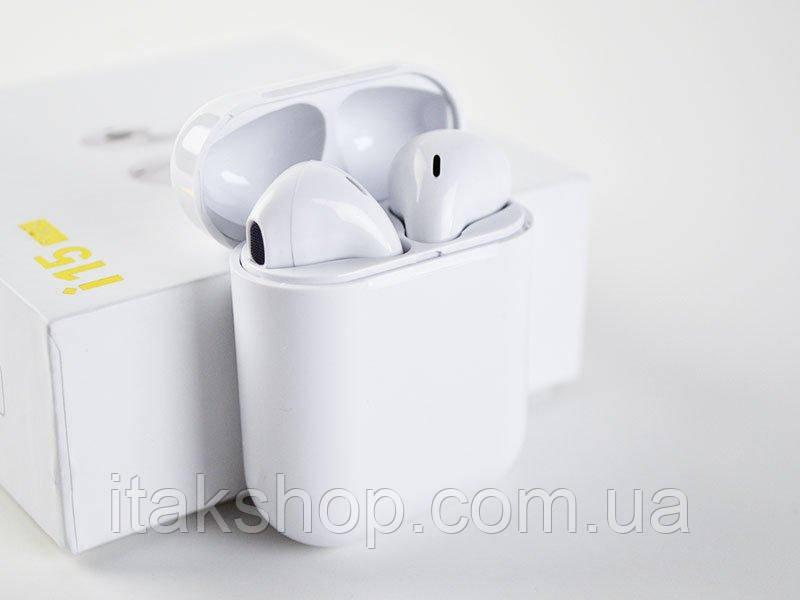 Беспроводные сенсорные Bluetooth наушники i15 max 5.0 tws с кейсом белые