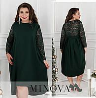 Женское платье с гипюром ОМ/-734 - Зеленый, фото 1