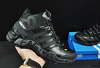 Кроссовки зимние Adidas Terrex 465 мужские черные, в стиле Адидас Террекс, Кожа мех 100% прошиты. KR-20669