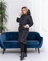 Теплое зимнее пальто,черное с белым, батал, ткань плащевка, арт. М 032