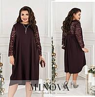 Жіноче плаття з гіпюром ОМ/-734 - Бордовий, фото 1