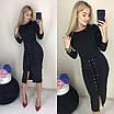 Эффектное шикарное облегающее платье со шнуровкой от талии к низу, красивая женская одежда, фото 8