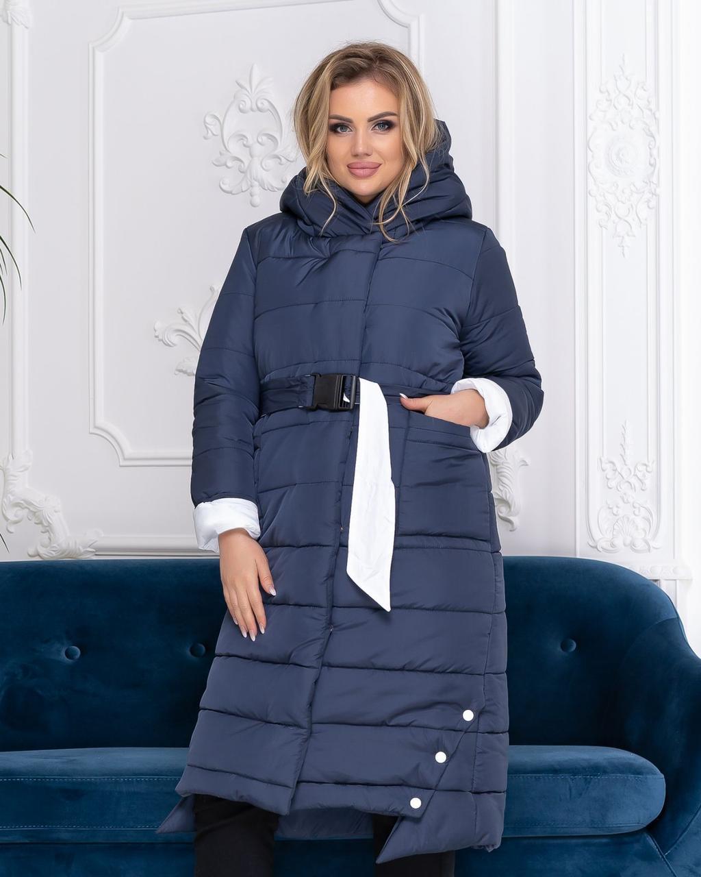 Теплое зимнее пальто,темно-синее с белым, батал, ткань плащевка, арт.М 032