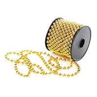 Бусы пластиковые золотые 5 мм. х 10 м. 11700