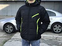 Мужская зимняя куртка Adidas, черная з салатовым