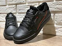 Adidas continental мужские зимние кеды с мехом, чёрные, размеры 40-45