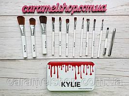 Набор кистей для макияжа Kylie Jenner 12 шт в металлическом футляре реплика БЕЛЫЕ