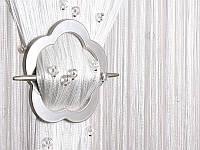 Шторы нити  белые с  гладким  круглым стеклярусом