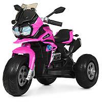 Детский мотоцикл M 4117 EL-8, кожаное сиденье, EVA колёса, дитячий електромобіль, розовый