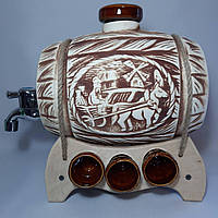 Бочка винная на подставке с рюмками шамот коричневый 3,5 л