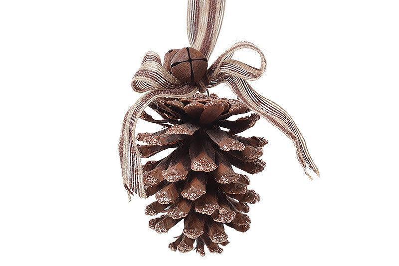 Новогодний подвесной декор  Bonita Шишка натуральная с коричневыми блестками 25 см (814-351)