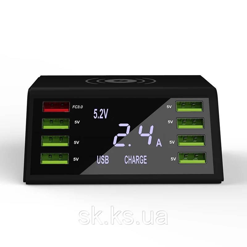 Профессиональное смарт smart зарядное устройство на 8 usb и безпроводной порт