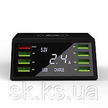 Професійне смарт smart зарядний пристрій на 8 usb, безпровідний порт