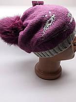 Шапка с натуральным бубоном на магните Кошка розовая, фото 3