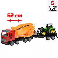 Бетономешалка игрушка инерционная с бульдозером Same Toy Truck 98-88Ut-1