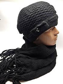 Теплый вязаный комплект берет и шарф черный