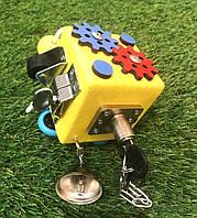 Бизикубик 8х8 см бізіборд busyboard желтыйбизикуб бізікубик детские деревяные игрушки Монтессори