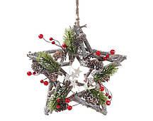 Декор подвесной Bonita Звезда с хвоей и ягодами 24 см ( 743-205)