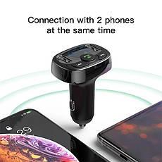 Автомобільний FM-трансмітер Baseus S-09A модулятор USB автомобільний зарядний пристрій Black, фото 2