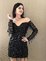 Женское нарядное платье в пайетку  Poliit 8576