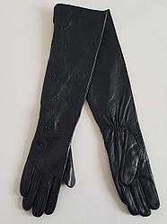 Длинные женские перчатки «Веточка» из натуральной кожи