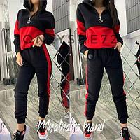 Женский зимний теплый спортивный костюм на флисе черный+хаки черный+красный 42-44 44-46