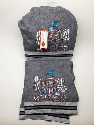 Теплый комплект с шарфом Слоники серый, фото 2