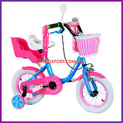 """Детский двухколесный велосипед с креслом для куклы 12"""" Corso"""