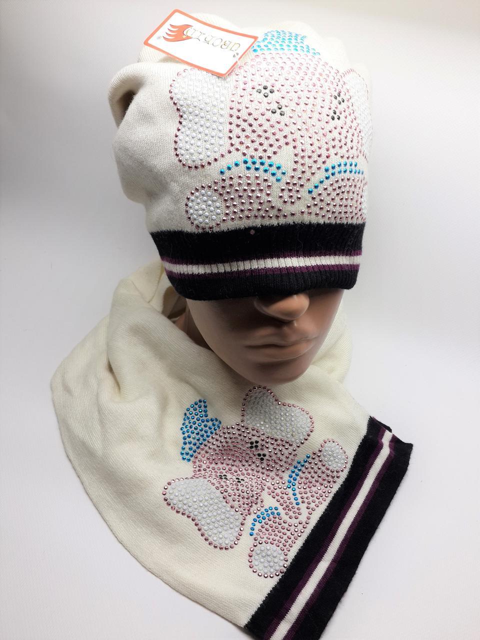 Теплый комплект с шарфом Слоники белый