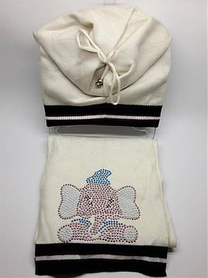 Теплый комплект с шарфом Слоники белый, фото 2