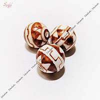 Круглая керамическая бусина 14 мм с геометрическими узорами для рукоделия цвет коричневый