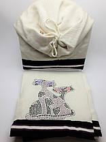 Теплый комплект с шарфом Кошки молочный, фото 3