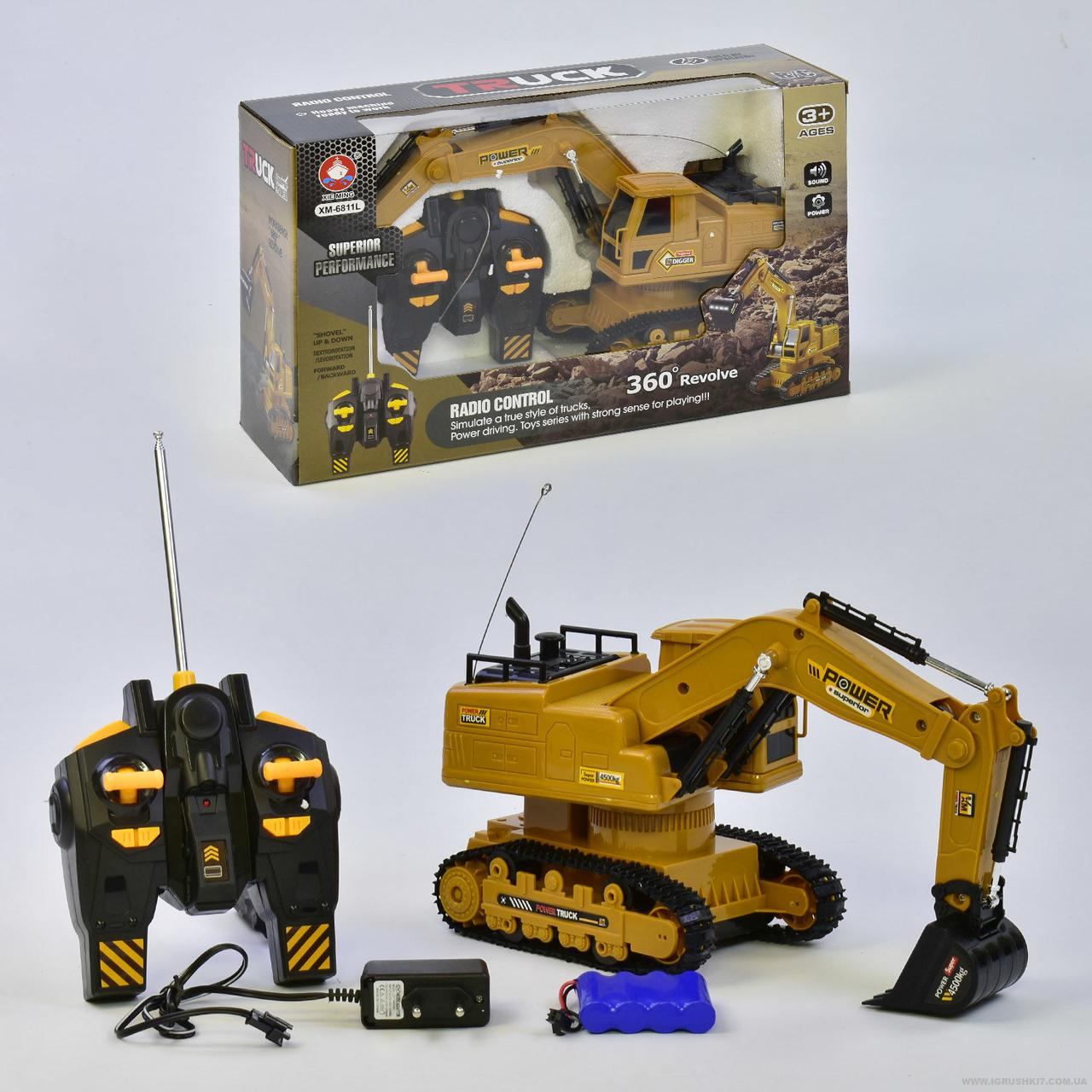 Экскаватор на радиоуправлении ХМ 6811 L (18), аккум 4.8V, звук, в коробке