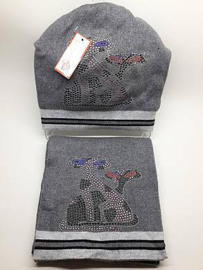 Теплый комплект с шарфом Кошки серый, фото 2