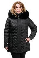 Жіноча зимове стьобана куртка з хутром, фото 1