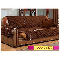 НОВИНКА!!! Накидка на диван с подлокотниками + 2 подушки в подарок!! (Коричневый цвет))